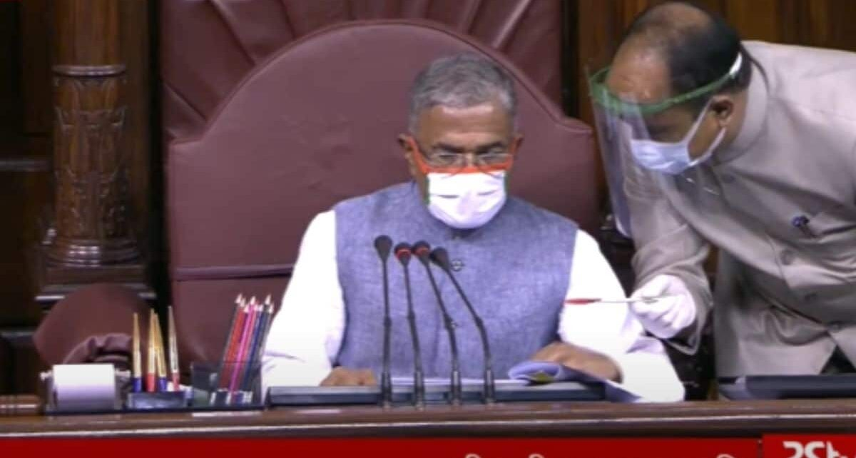 Screengrab of the session on last Sunday in Rajya Sabha. (RS TV: Image Credits)