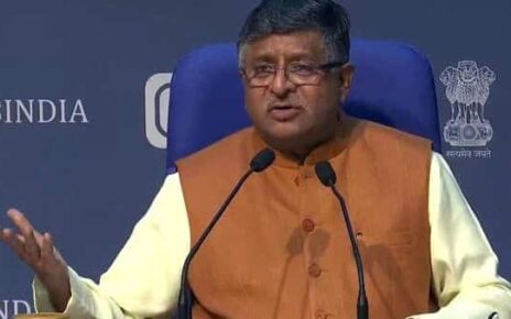 Minister of Law and Justice Ravi Shankar Prasad addresses media during a press conference, in New Delhi on Monday (ANI)