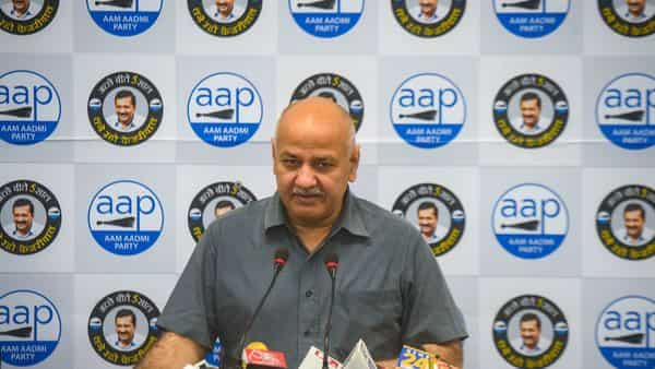 New Delhi, India - April 10, 2021: Delhi Deputy Chief Minister Manish Sisodia addresses a press conference, at AAP office, ITO, in New Delhi, India, on Saturday, April 10, 2021.  (Photo by Amal KS/ Hindustan Times) (Amal KS/HT PHOTO)