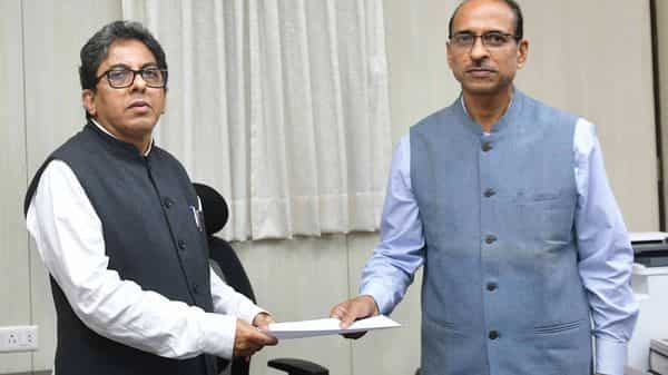 Former Chief Secretary of Bengal, now Special Advisor to the Chief Minister, Alapan Bandopadhyay (L) with new Chief secretary Hari Krishna Dwivedi at Nabanna in Kolkata, West Bengal.