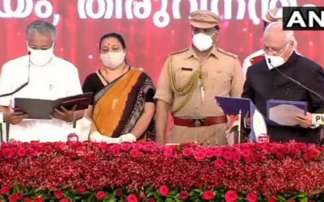 Pinarayi Vijayan takes oath as Chief Minister of Kerala for the second time. (ANI)