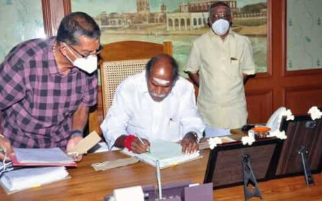 Chief Minister of Puducherry N Rangasamy at Legislative Assembly after his swearing-in ceremony, on Friday.  (ANI)