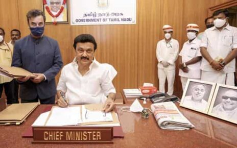 File Photo:  Newly sworn-in Tamil Nadu Chief Minister MK Stalin does his first signature, at his office in the Secretariat, in Chennai (PTI)