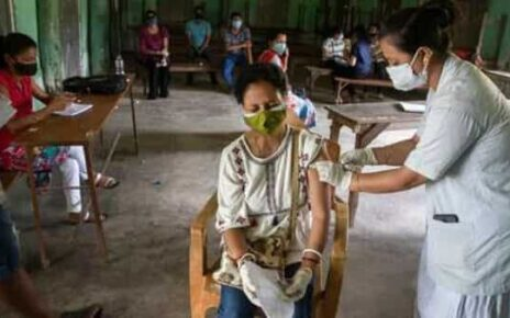 An Indian woman is injected with a dose of COVAXIN as she gets vaccinated against the coronavirus in Gauhati, Assam. (AP)