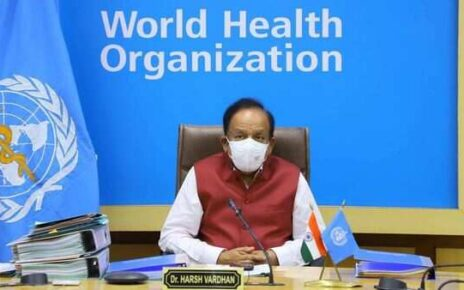 Health Minister Dr. Harsh Vardhan attends the 74th World Health Assembly via video conferencing, Delhi. (PTI)