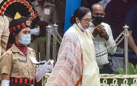 West Bengal Chief Minister Mamata Banerjee during the 75th Independence Day celebrations, at Red Road in Kolkata. (PTI)