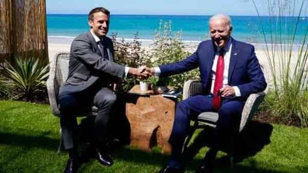 A file photo of US President Joe Biden with French President Emmanuel Macron during a bilateral meeting in Carbis Bay, England (Photo: AP)