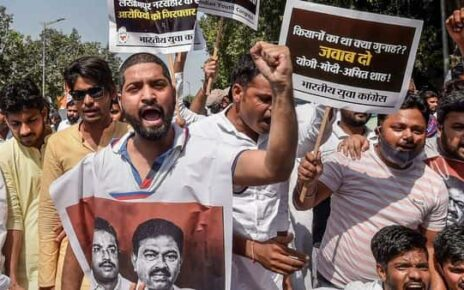 Indian Youth Congress members shout slogans during a protest demanding the immediate arrest of Ashish Mishra, accused of the Lakhimpur Kheri violence (PTI)